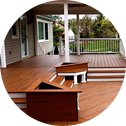 Deck made with composite lumber in London On also in Trex.